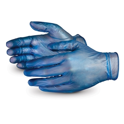 Blue Vinyl Powdered Disposable Gloves