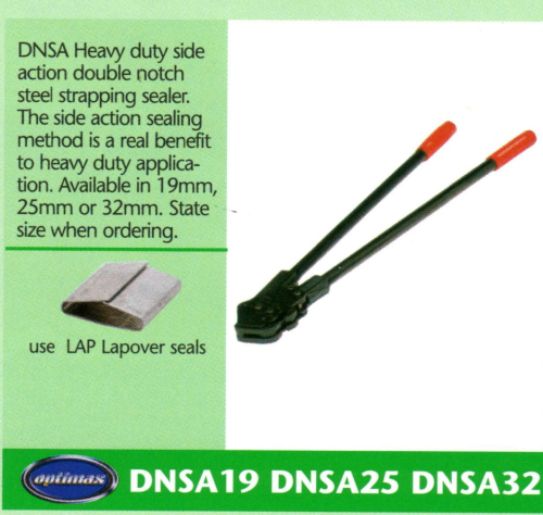 DNSA Heavy Duty Side Action Double Notch Steel Strapping Sealer